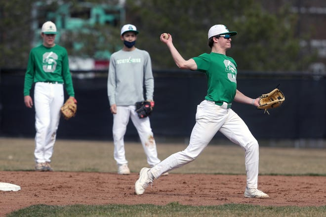 Scioto's Jack Geisler throws to first during practice March 17. Coach Ryan Longbrake believes Geisler, a sophomore infielder and pitcher, has the potential to develop into one of the area's top players.