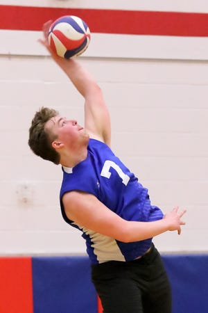 Luc Canestraro serves during Davidson's 25-21, 27-25, 25-22 loss at Thomas Worthington on March 26. He is one of two seniors for the Wildcats along with Jack Lansky.