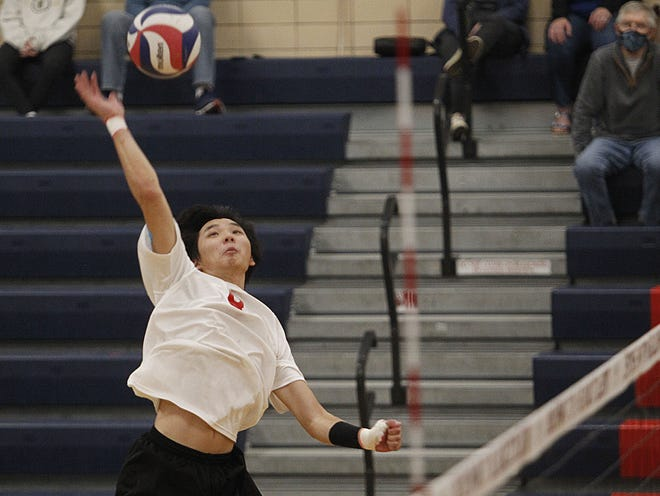 Senioroutside hitter Matthew Franz is the top player for the first-year Hartley boys volleyball program. He is the nephew of coach Doug Franz, who also is an assistant in the Hawks girls program.