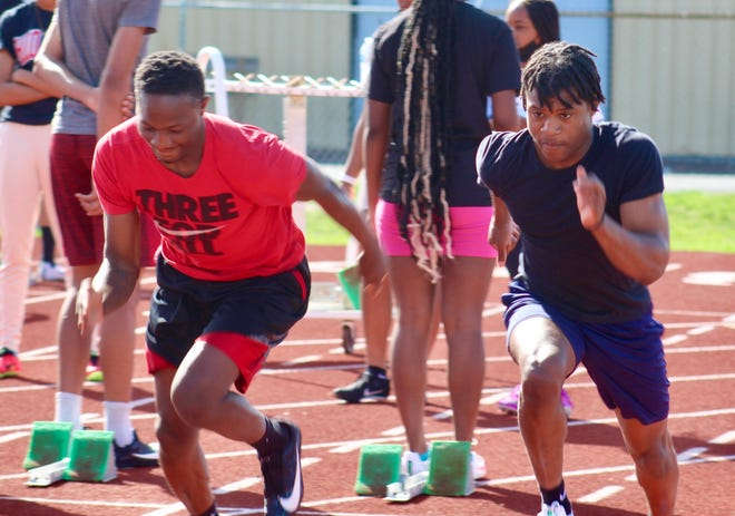 Juniors Jeremiah Harrison (left) and Taron Biles-Walker should be key contributors in the sprinting events for the Whitehall-Yearling boys track and field team. The Rams are led by first-year coach Kyle Jefferson, a 2010 Whitehall graduate.