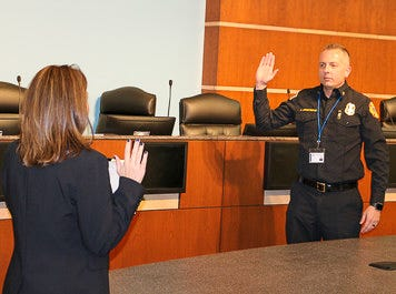 Jeff Armstrong is sworn as chief of the Victorville Fire Department in City Council chambers on Monday, March 29, 2021.