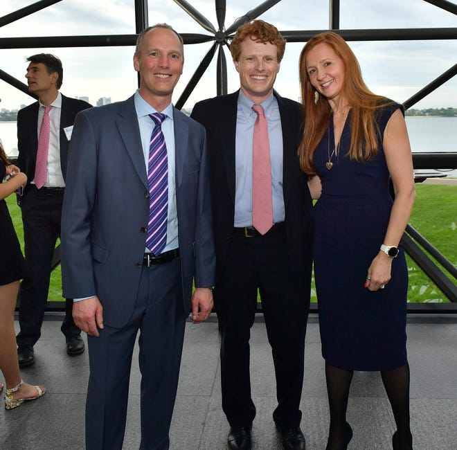 Emma Carpenter and her husband Daniel, left, with former Congressman Joseph Kennedy at the 2018 Embracing the Legacy gala.