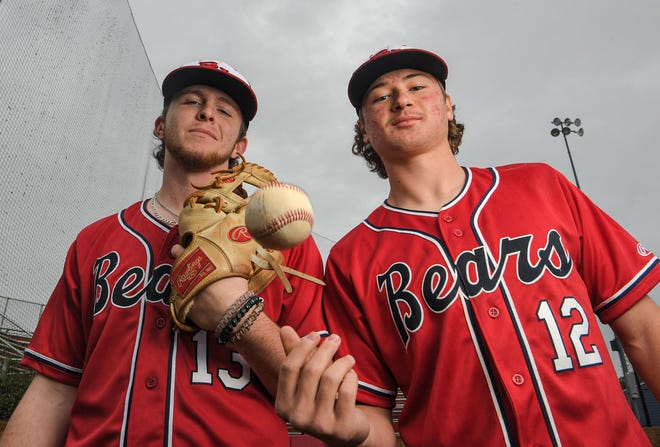 Belton-Honea Path pitchers Landon Gaddis, left, and Dustin Scogins are helping lead the way for the Bears baseball team this year.