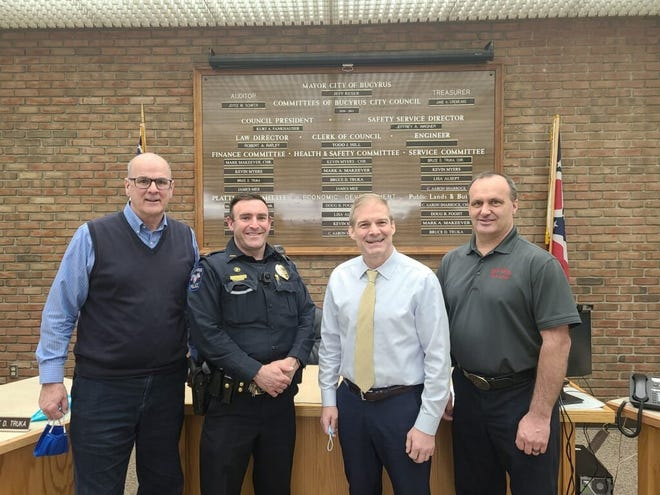 """This photo was published on the city's Facebook page March 23 with a post that read: """"Thank you to Congressman Jordan for meeting with our new safety forces chiefs today."""""""