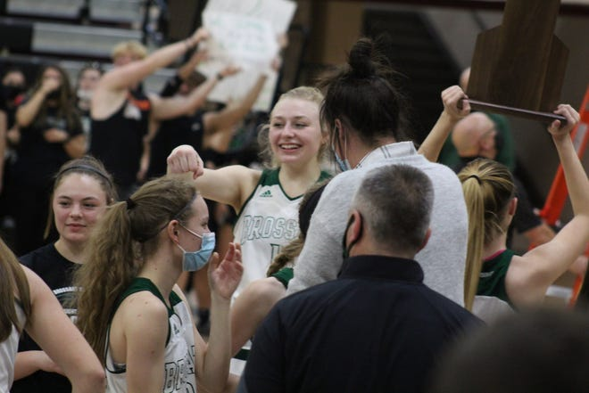 Marie Kiefer and teammates celebrate as Bishop Brossart defeated Montgomery County 61-47 in the KHSAA 10th Region girls basketball championship game March 30, 2021 at George Rogers Clark High School, Winchester, KY.