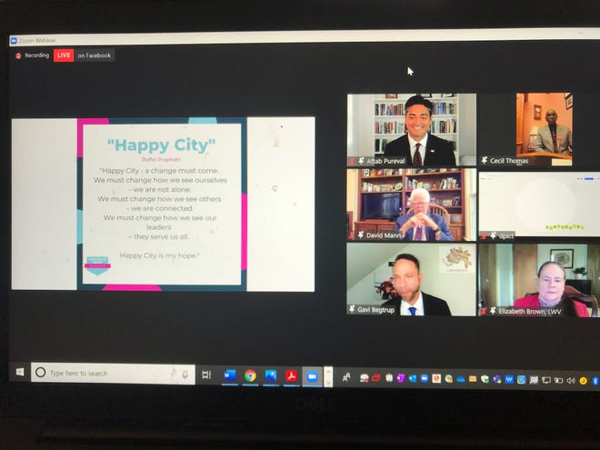 A screen shot of Wednesday night's mayoral forum organized by several civic organizations.