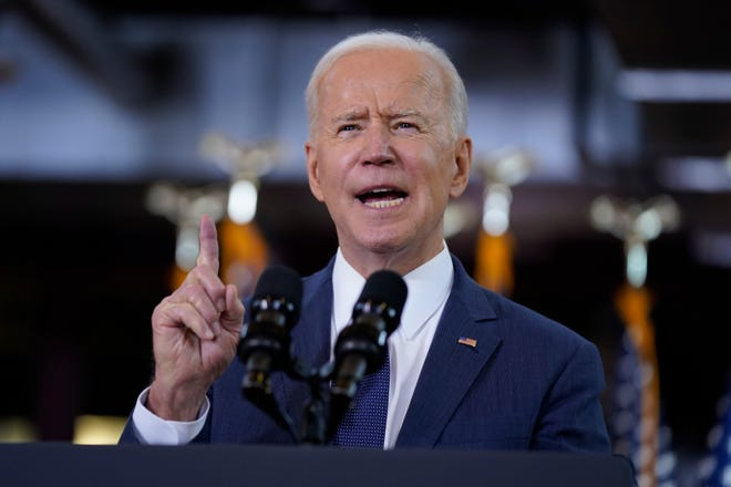 President Joe Biden delivers a speech on infrastructure spending at Carpenters Pittsburgh Training Center on March 31, 2021, in Pittsburgh.