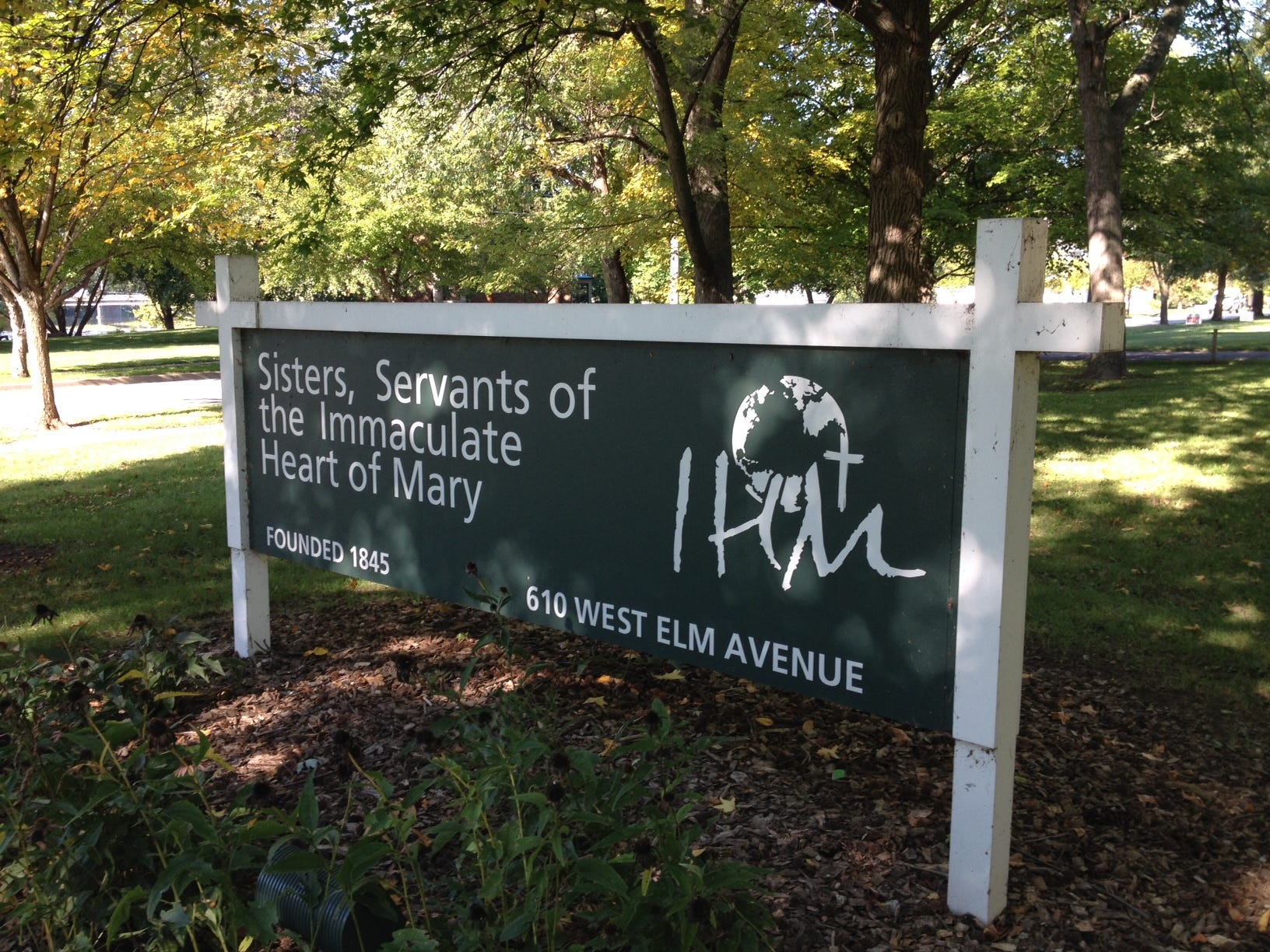 A sign outside the Monroe headquarters and Motherhouse for the Sisters, Servants of the Immaculate Heart of Mary congregation. The IHM sisters were once the predominant teaching order in southeastern Michigan. The sisters founded Marian High School in Bloomfield Township in 1959.
