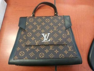 Officials said this Louis Vuitton bag is one of the counterfeit designer products seized March 2, 2021 by Customers and Border Protection officers at the Blue Water Bridge in Port Huron.