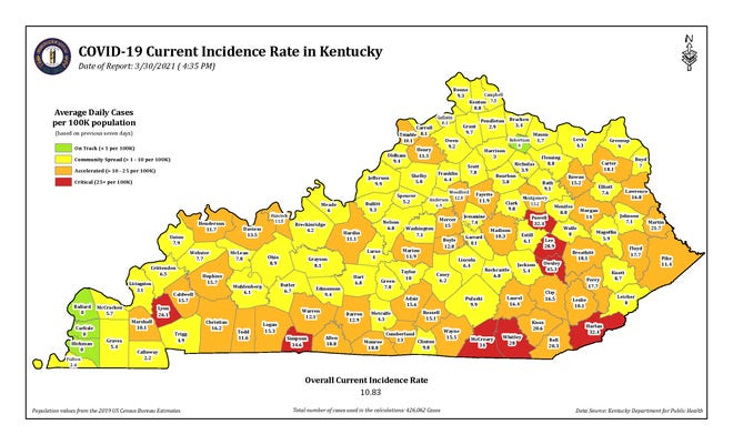 The COVID-19 current incidence rate map for Kentucky as of Tuesday, March 30.