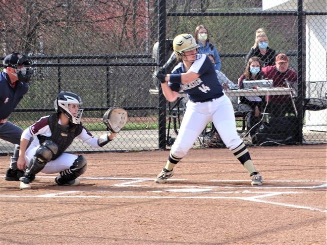 Lancaster's Annabelle Farmer hit a solo home run in the top of the first inning Tuesday against New Albany, but the Lady Gales fell 7-6 in their non-conference game.