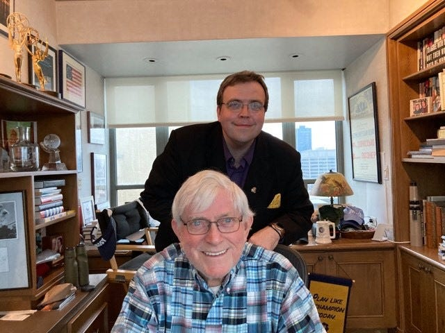 Scott Spears poses for a photo with Phil Donahue after the two spent nearly two hours together for an interview to air on WWGH on April 3, 2021.