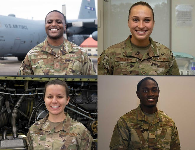 Members of the 908th are, clockwise from top left, Master Sgt. Harold Floyd, Airman 1st Class Becca Ballard, Senior Airman Isaiah Walker, and Senior Airman Bonnie Hardy.