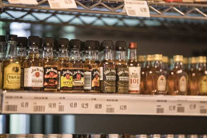 Miniature bottles of liquor are pictured at Kelly Liquors in Las Cruces on Wednesday, March 31, 2021.