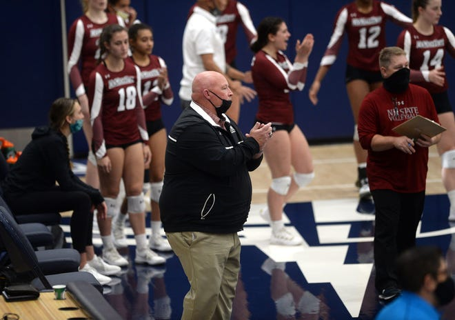 New Mexico State head coach Mike Jordan watches on during his team's game against California Baptist on Feb. 22, 2021, in Riverside, California.