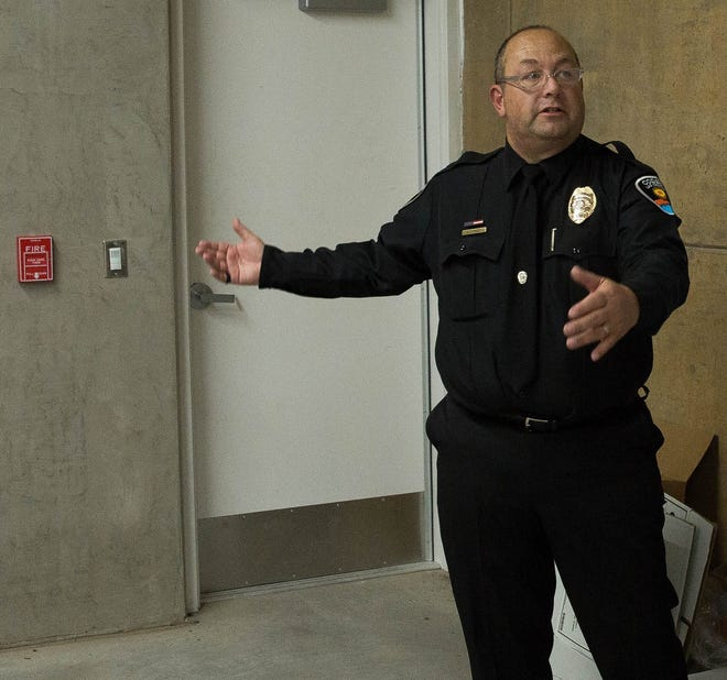 Las Cruces Police Codes Enforcement Administrator James Chavez gives a tour of the East Mesa Public Safety Complex in 2017. Chavez was fired in January after posting a racist meme to his Facebook page. He has filed a grievance to get his job back.