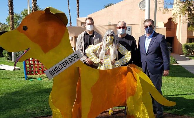 Tom Snydner, Animal Samaritans CEO; Karen Barone; Tony Barone; and Tom Scaramellino, Westin Mission Hills general manager pose with Shelter Dog.