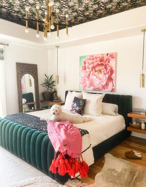 Bari J. Ackerman, an author, artist and designer in metro Phoenix, is behind the Instagram account @barij and  floral-filled Bari J. lifestyle brand. Her style is apparent in this photo of her master bedroom.