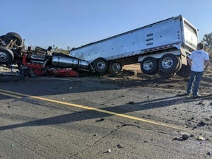 A portion of U.S. 93 near Wickenburg is closed March 31, 2021, following a two-vehicle crash involving a tractor trailer carrying rocks and a passenger vehicle.