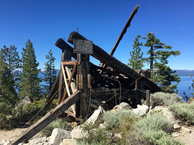 The historic Bull Wheel structure, used from 1880 to 1894 to transport lumber over the mountains.