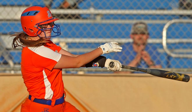 Rylee Dean takes a swing at the plate for Central during a game against Abilene on Tuesday, March 30, 2021.