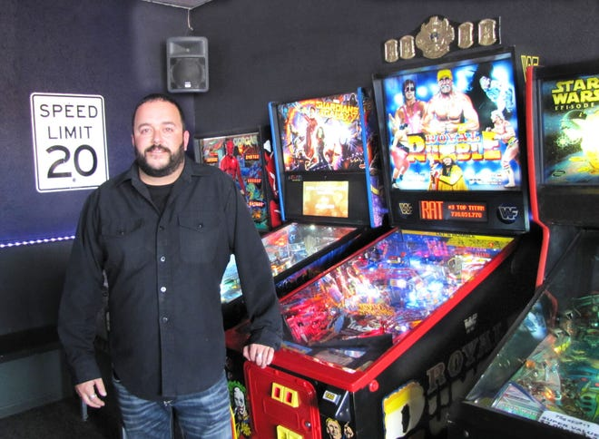 This custom built 1990s Royal Rumble pinball machine is one of Ryan Wilfahrt's favorite finds during his dealings with private collectors.