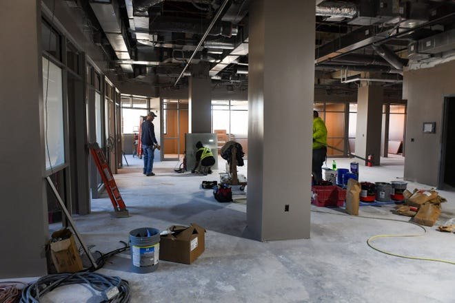 Construction continues at the future site of the Link community triage center on Wednesday, March 31, 2021 in Sioux Falls.