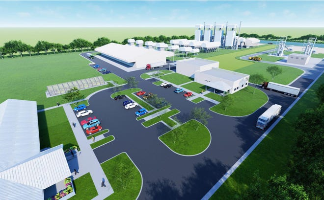 A site rendering shows the proposed Green Carbon Solutions facility, where wood would be turned into biochar, a porous charcoal with high carbon content used for industrial and environmental uses.