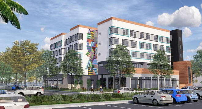 An artist's rendering of the $34 million homeless center planned for downtown Oxnard, across from City Hall.