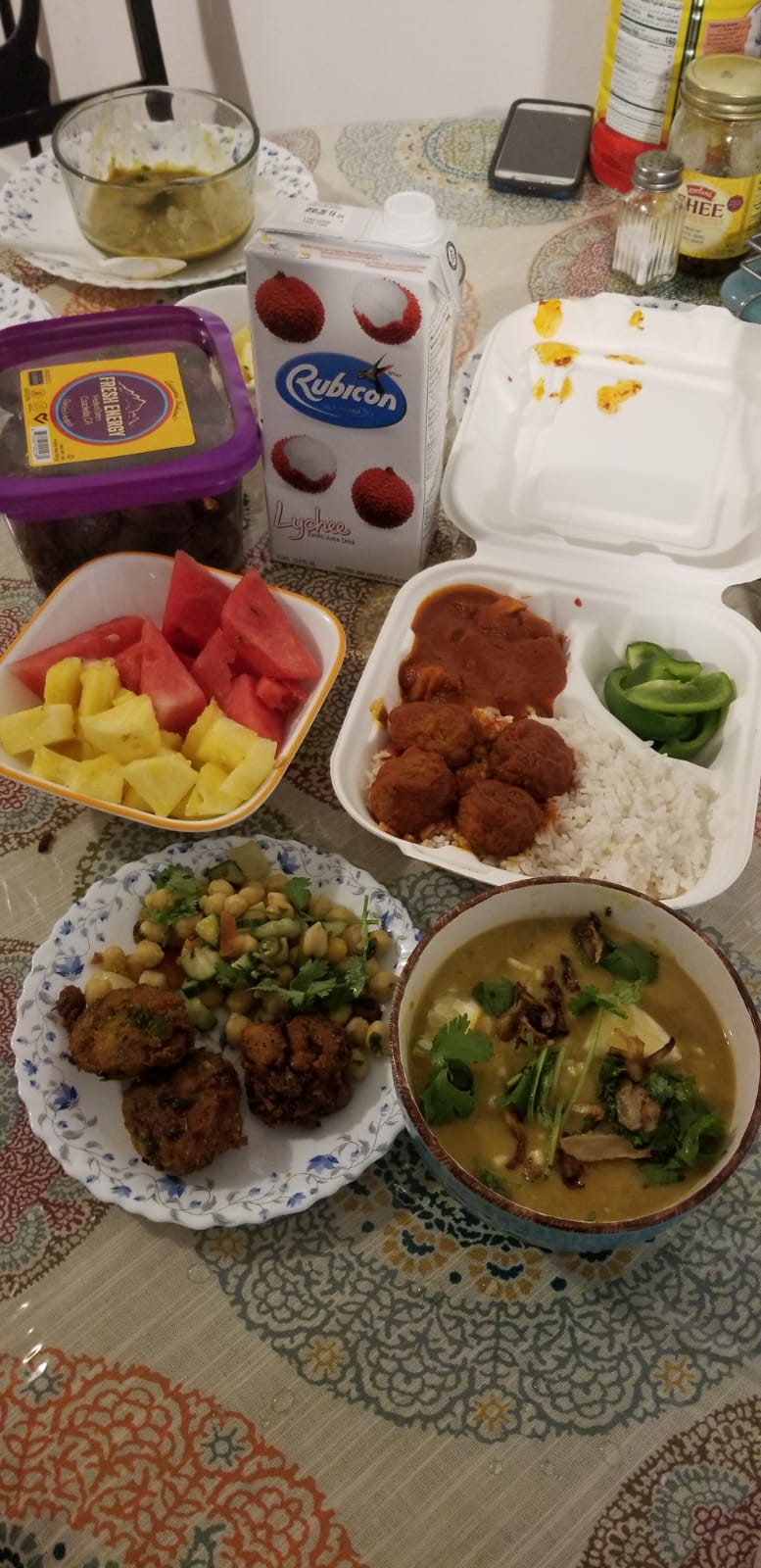 Lamisa Fairooz and her family have traditional Bengali foods for iftar in Rochester, New York.