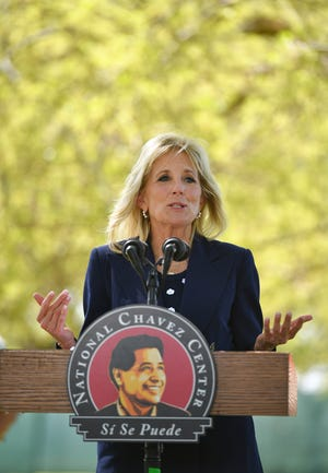 First lady Jill Biden speaks during a visit at at The Forty Acres, the first headquarters of the United Farm Workers labor union, in Delano, Calif., Wednesday, March 31, 2021. (Mandel Ngan/Pool via AP)