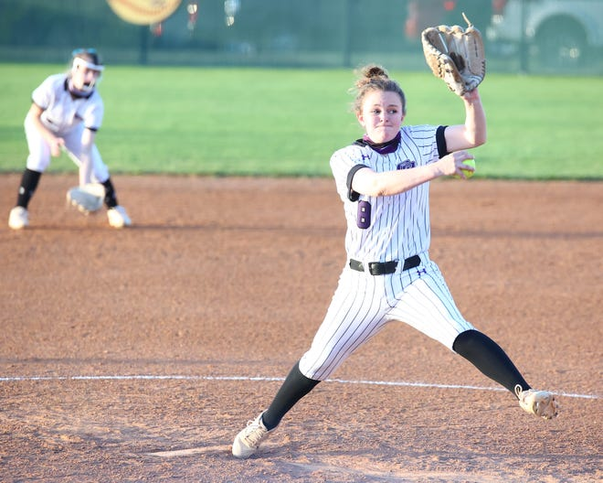 Hailey Hall pitched a complete game for Cedar Ridge in a crucial 5-3 win over Round Rock in District 25-6A play March 30 at Round Rock High School.