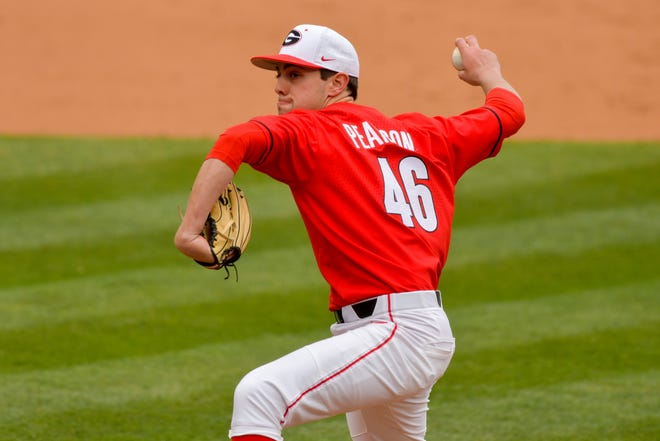Georgia pitcher Will Pearson (46) during a game against Tennessee at Foley Field in Athens, Ga., on Sunday, March 21, 2021. (photo by Rob Davis)