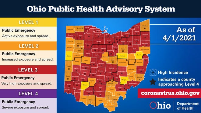 The Ohio Public Health Advisory System color map for Thursday, April 1, 2021.