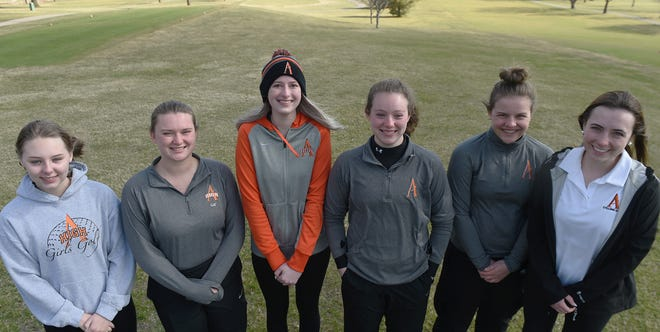 Ames High girls golf team members (from left) Bryce Bearson, Megan Riesselman, Sydney Kain, Taylor Balsley, Ainsley Jurgens and Ellie Nusbaum pose at the Veenker Golf Course in Ames Wednesday. The Little Cyclones want to make a run at state after missing out on the 2020 season due to COVID-19.