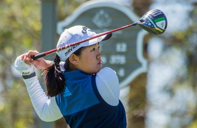 Rose Zhang, the world's top-ranked amateur, tees off on No. 12 during the second round of the Augusta National Women's Amateur. She is tied for the lead at 1-under.