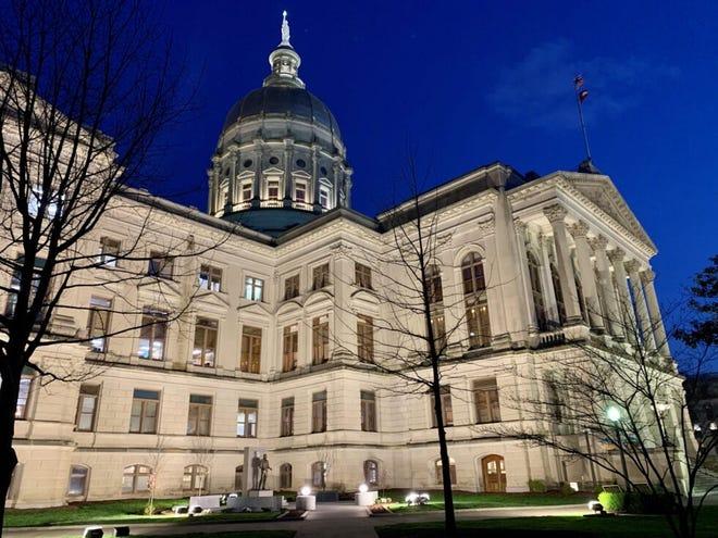 The Georgia Capitol at night.