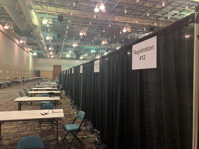 The COVID vaccination mega site inside the Atlantic City Convention Center.