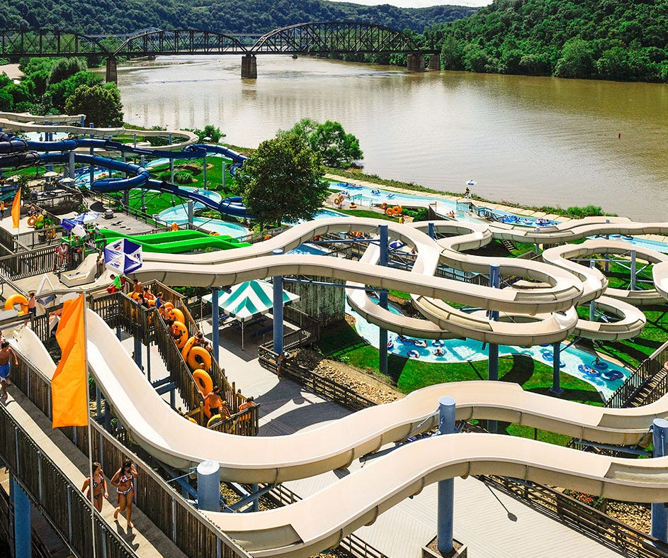 Sandcastle Waterpark in West Homestead offers waterslides and a wave pool, with a view of the Monongahela River.