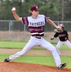 Merryville senior Ross Cournoyer surrendered just one run in Tuesday's win over Gueydan, 6-1.