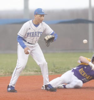 The Boonville Pirates C baseball team managed a split Wednesday night against Sedalia Smith-Cotton at Twillman field in Harley park, winning the first game 3-0 and dropping the second game 16-1. Boonville freshman Drew Rhorer takes a throw down at second last week against Columbia Hickman.