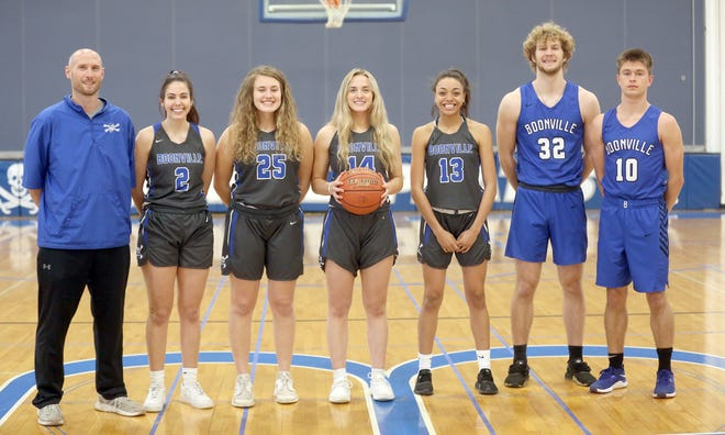 The Boonville boys and girls basketball teams recently had six players and one coach selected to the Class 4 North Central All-District Basketball Team for the 2020-21 season. Selected to the All-District Team, which is voted on by media in the region, were (left to right)Boonville girls basketball coach Jaryt Hunziker, Class 4 Coach of the Year, Kennedy Renfrow, Kourtney Kendrick, Addi Brownfield, Jodie Bass, Charlie Bronakowski and Luke Green.