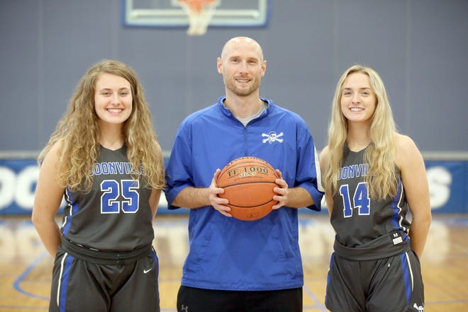 Boonville had two players, one coach recently selected to the KRES All-Star Team for the 2020-21 basketball season. Heading the KRES All-Star Team for Boonville were (left to right) Kourtney Kendrick, Boonville girls basketball coach Jaryt Hunziker, Coach of the Year, and Addi Brownfield.