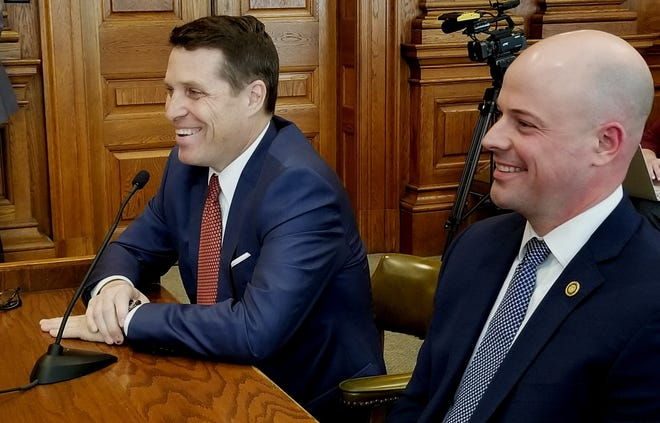 Attorney Todd Graves, left, and state Sen. Tony Luetkemeyer, R-Parkville, enjoy a light moment Thursday, March 31, 2021, during a hearing on Graves' nomination to the University of Missouri Board of Curators.