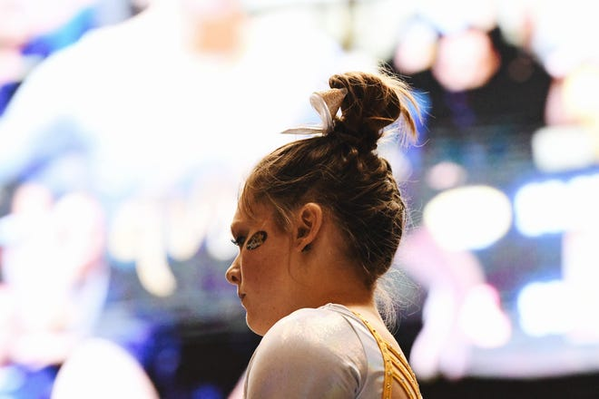 Missouri's Sienna Schreiber takes a moment before competing in an event during a gymnastics meet on Feb. 28, 2020 in Columbia.