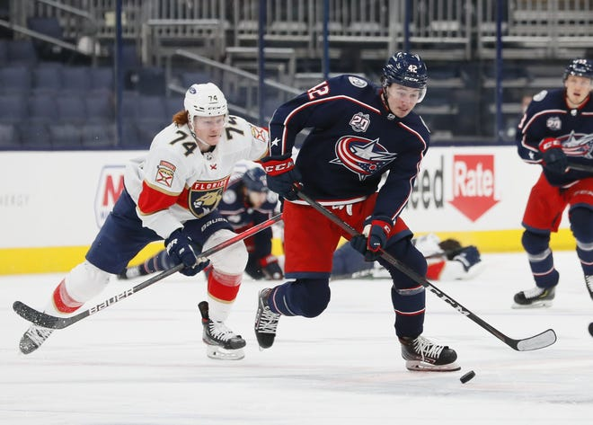 Blue Jackets center Alexandre Texier, here racing ahead of Florida  right wing Owen Tippett on March 11, entered Thursday's game looking to snapa 26-game goal drought.