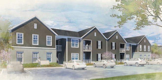 An artist's rendering of Killarney Woods, a 200-unit apartment project being developed by Casto Communities in Jefferson Township in eastern Franklin County.