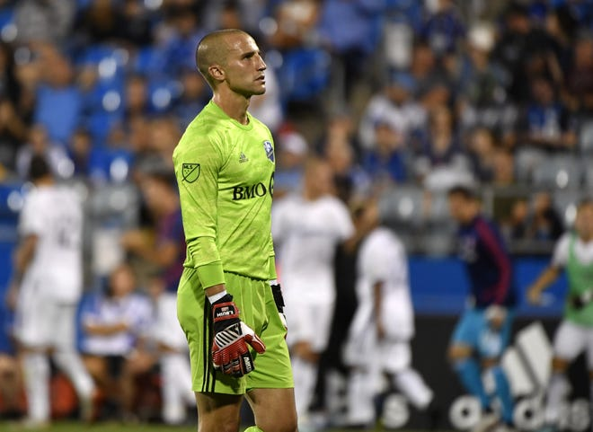 Goalkeeper Evan Bush, seen here in a 2019 game with the Montreal Impact, was born in Ohio and returns to a club he first watched at Ohio Stadium in the late '90s.