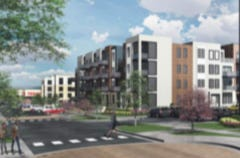 The 'Meet Me at the Yard' project with shops and apartments would anchor the west end of downtown Blue Springs.