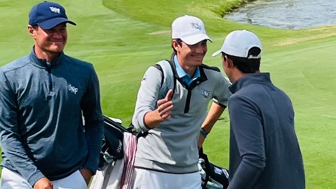 University of North Florida freshman Nick Gabrelcik (center) has won three of his six starts this season and is ranked first in the nation by Golfstat.